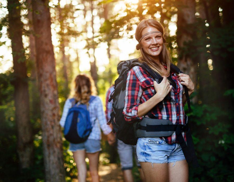 People trekking in forest